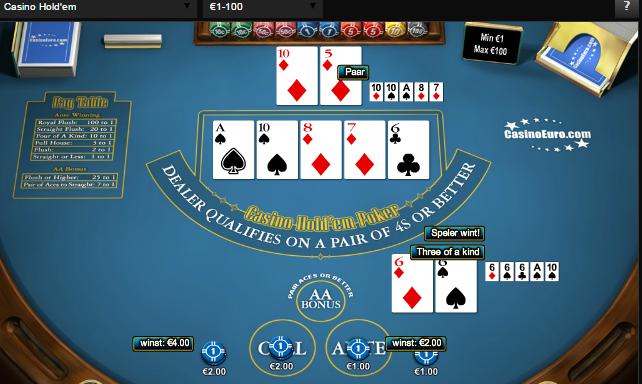 three of a kind holdem poker